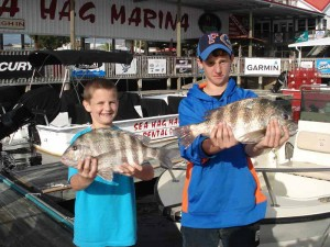 Ethan and Dalton Wells from St. Augustine found the sheepshead bite to their liking.