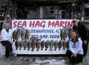 Captain Miriam Alexander and her all-girl crew of Leah Baggs, Patty Powl and Rebecca Richmond went home with lots of sheepshead filets
