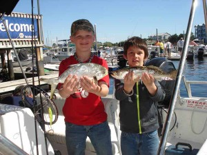 Georgians Noah Mitchell and Ethan Gibbs found pompano and trout fishing from a Sea Hag Marina rental boat.