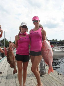 Carissa Miller and Kat Crews with the winning grouper and snapper from the Nauti Girls tournament