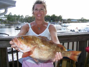 Susan Heitmann with her first red grouper