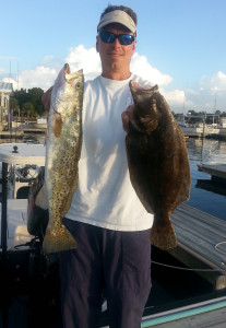 Jason Carrington from Dawsonville, Ga. with flounder and gator trout