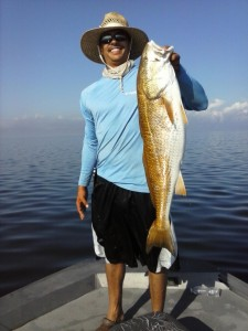 Miguel Parga didn't stick to grouper; he also found this giant bull red.