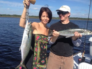 Had the opportunity to take my son Sid and his girlfriend Lee out to score some big Spanish mackerel.
