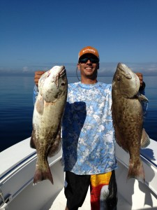 Miguel Parga and a beautiful pair of gag grouper.