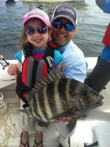 Holly Rust and daddy Adrian found this cute sheepshead that went home for dinner.
