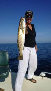 Cindy Johns from Keaton Beach brought in this 23 inch trout caught on a Gulp! Shrimp.
