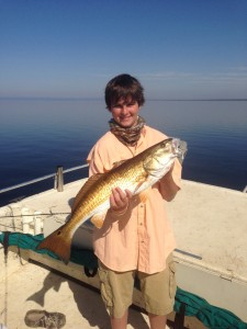 J. Riley from Butler, Ga. caught his very first redfish fishing out of Keaton Beach.