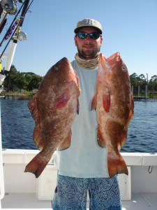 Lance Smith from Gainesville found these red grouper in 65 feet of water.
