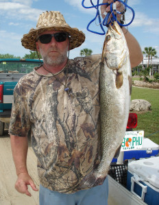 Scott Robinson caught the winning trout in the Optimist Club tournament, a 6.9 pounder, on cut bait off Keaton Beach