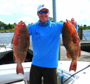 Perry McDonald landed this beautiful pair of red grouper.