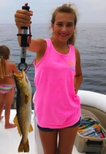 Ashlyn Purvis caught her first fish, this very nice trout, on the flats.