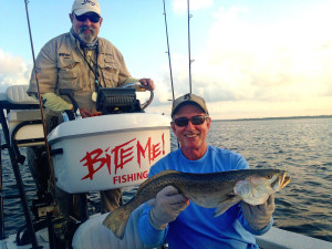 Doug Barrett found this nice gator trout in a foot and a half of water.
