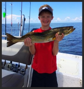 Brady Shaw caught this huge 26 inch gator trout fishing with this dad, Sam.