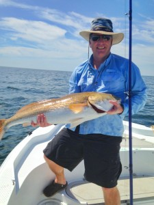 Paul Young found this overslot redfish while grouper fishing.