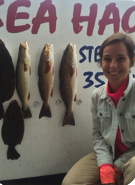 Rachel Cocciolo with a partial board of trout and flounder.