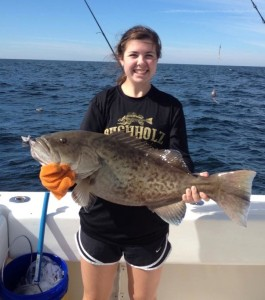 Riley Rousseau from Gainesville, Fl with a giant gag grouper.