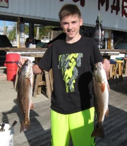 Rob Dilbone caught these fine redfish fishing with his dad.