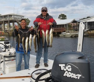 Vince Russo and Bobby Barnett with a fine bunch of trout taken out the Sea Hag at Keaton marina.