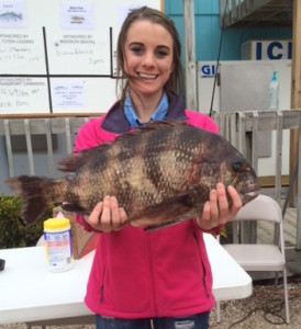 Kristina Pekarek with a 7.1 pound sheepshead.