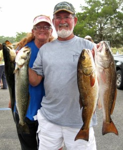 The amazing Jeff and Debbie Evans….one of those redfish was a prize-winner at 6.4 pounds.