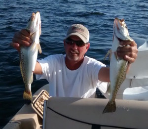 Barry Young from Tifton, Ga., with two really nice trout.