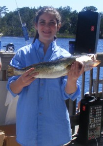 Morgan Balch with a tasty trout.