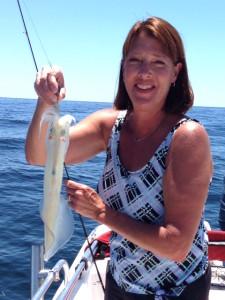 Susan Purser caught this squid on a Gulp shrimp!