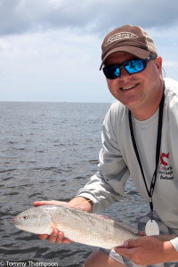 Brian Gorski from CCA releasing one of the 120 tagged redfish in the STAR Tournament (see below).