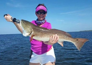 Kristen Griffis with a beautiful overslot redfish.