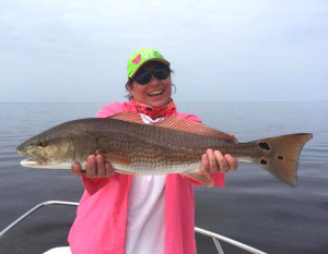Shawna Phillips is happy with her upper-slot redfish.