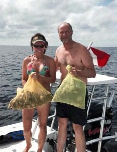 Capt. Leiza Fitzgerald took some time off from her job as director of the state CCA STAR tournament to capture some scallop limits with Lowe Morrison.