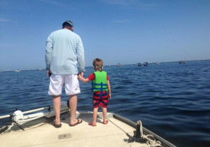 Andrew Brantley took his son on his first scallop trip.