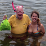 Uncle Bobby Crosby with his niece Candace Poole from Midway, Georgia with a nice bag of scallops.