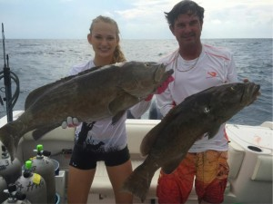 Spearfishing can result in some fantastic results…Chaeli and Charlie Norwood with some beautiful gag grouper.