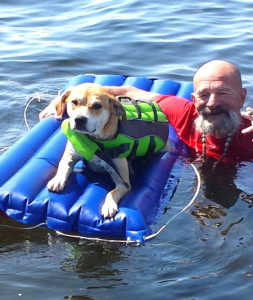 Steinhatchee regular Long-Beard Jack and his scalloping dog were on the water this month.