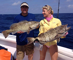 Ray Hedgecock and Missie Schneider with a pair of  winning gag grouper.