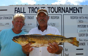 Billy Pillow and Pat McGriff with the big trout in the county Trout Tournament.