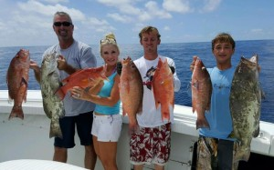 Clark and Lisa Gey, Derek Snyder and Chase Norwood with a great assortment of grouper, snapper and hog snapper.