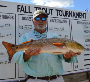 Craig Giles with the winning redfish in the county Trout Tournament.