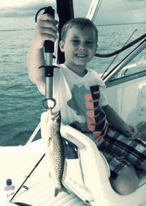 It's not a huge one, but Jackson Arnold loved catching this trout.