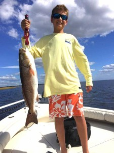 Cannon Carr with another upperslot redfish taken near shore.