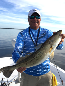 Steinhatchee master Max Leatherwood with a true gator trout, which he released.