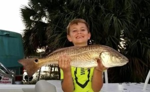 Tyler Thurmond with this upper-slot redfish caught at Pepperfish Keys.