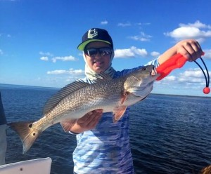 Jackson Forrester caught his first redfish on a live Sea Hag shrimp.