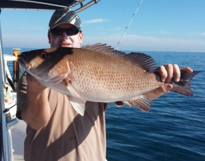 Running way offshore, Jason Boan found this tasty mangrove snapper.