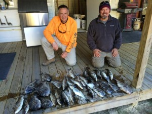 On another gigging trip (their first), Jim Kilgore and Lee Waldron from Hahira nailed these mullet and sheepshead.
