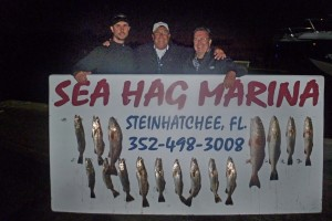 Max Leatherwood,  master night fisherman, and friends brought in these beautiful trout and redfish.