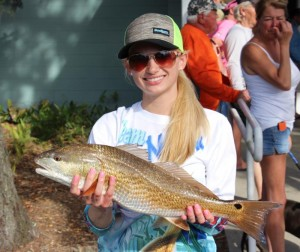 The littlest Sea Hag, Chaeli Norwood, caught this nice redfish during the tournament.