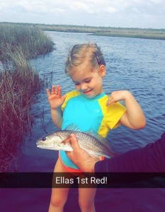 Big month for firsts….this was Ella's first redfish.